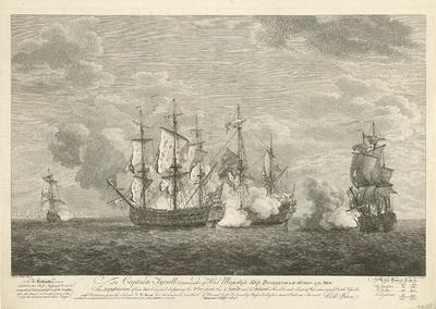 Aanval van een Engels schip op drie Franse schepen bij Sint Eustatius, 1758