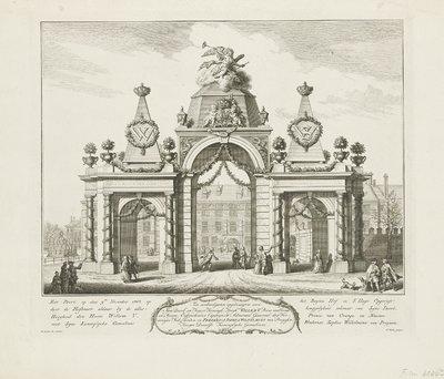 Erepoort op het Buitenhof voor de intrede van Willem V en Wilhelmina van Pruisen, 1767; Eer-Poort op den 9de November op het Buyten Hof in S'Hage Opgerigt door de Hofbuurt aldaar by de allerheuggelykste inkomst van Syne...