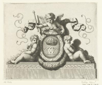Ovaal medaillon omringd door drie putti; Vignetten