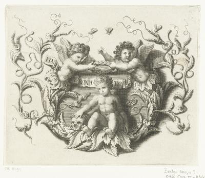 Putto met schedel en twee putti met onderlijf van bladranken; Finis Corona Topvs; Vignetten