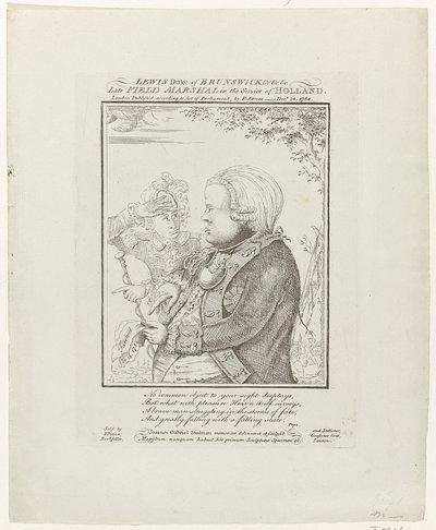Spotprent op het vertrek van de hertog van Brunswijk uit Nederland, 1784; Lewis Duke of Brunswick (...) Late Field Marshal in the Service of Holland