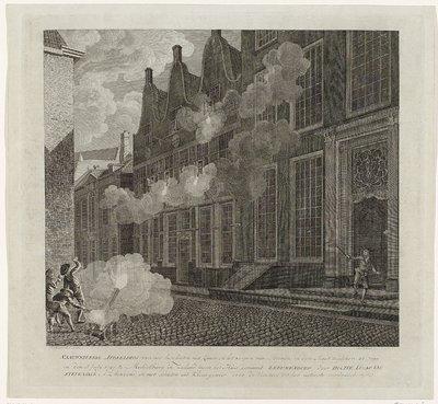 Beschieting van het huis van Lucas van Steveninck, 1787; Naauwkeurige afbeelding van het beschieten met Kanon en het werpen van Steenen in den Nagt tusschen 30 junij op den 1 Julij 1787 te Middelburg in Zeeland tegen het...