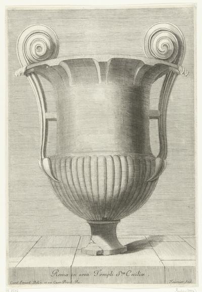 Vaas met twee handvatten eindigend in krul; Romae in area Templi Stae. Ceciliae; Recueil de divers vases antiques