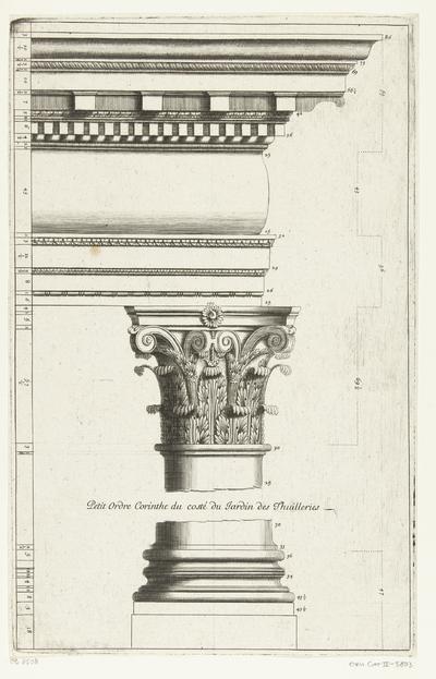 Korintische orde, deel van zuil met voetstuk en hoofdgestel; Petit Ordre Corinth (...); Parallèle de l'architecture antique et de la modern (...)