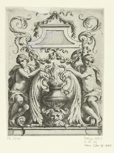 Twee vrouwen naast urn; Divers Ornemens, Trophées et Panneaux