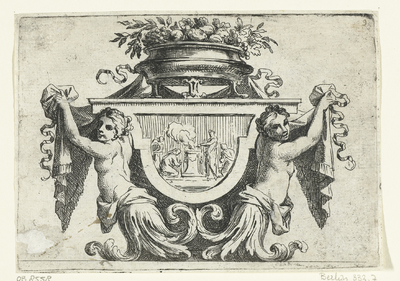 Twee vrouwelijke bovenlichamen naast paneel; Livre III. Divers Ornemens