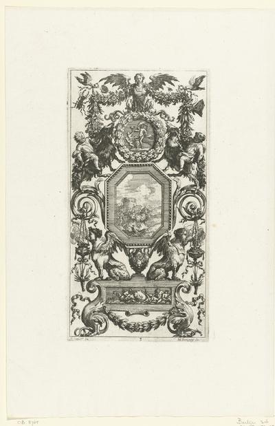 Muurpaneel met twee sfinxen onder achthoekige lijst; Livre De Diverses Grotesques, Peintes Dans Le Cabinet De La Reine Régente, Au Palais Royal