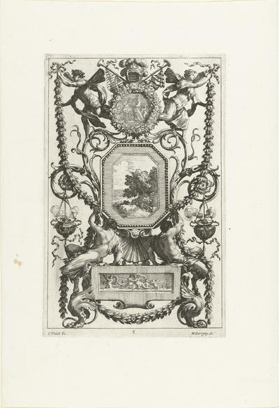 Muurpaneel met twee saters onder achthoekige lijst; Livre De Diverses Grotesques, Peintes Dans Le Cabinet De La Reine Régente, Au Palais Royal