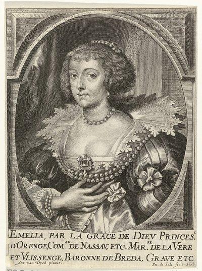 Portret van Amalia van Solms, prinses van Oranje-Nassau; Theatrum pontificum, imperatorum, regum, ducum (...)