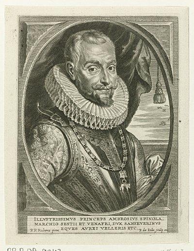 Busteportret van Ambrogio Spinola; Theatrum pontificum, imperatorum, regum, ducum (...)