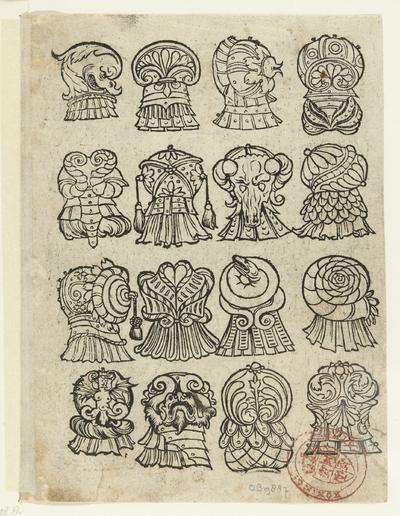 Zestien versieringen voor de schouderpartij van een wapenrusting; Latere editie van Ein frembds und wunderbares kunstbüchlin (...)