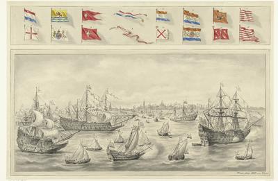 Aankomst van graaf Leicester te Vlissingen, 1585; Aankomst van Frederik V van de Palts en Elizabeth Stuart te Vlissingen, 1613.