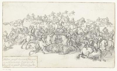 Image from object titled Slag van Lekkerbeetje, 1600; Bloedich gevecht tusschen 22 francoische en 22 Nederlantsche Ruyteren onder Breaut en gerard Leckerbeetge Ao. 1600