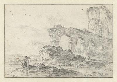 Italiaans landschap met ruïnes en enkele figuren