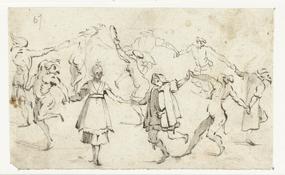 Dansende figuren uit de Commedia dell'Arte