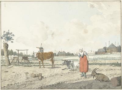 Image from object titled Landschap met boerin en vee