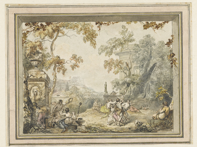 Image from object titled Ontwerp voor een kamerbeschildering: idyllisch-arcadisch landschap met klassieke gebouwen