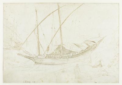 Italiaans zeilschip voor anker; Moors galei