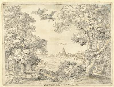 Image from object titled Gezicht op Zoeterwoude en de Lammerschans, 1574; Oft dit vijfde vack / van den toren van Voorschoten; Ontwerpen voor wanddecoraties met gebeurtenissen uit de 80-jarige oorlog