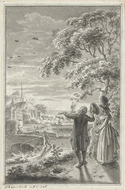 Image from object titled Man en vrouw in landschap met zonsondergang