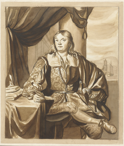 Portret van een zittende jongeman