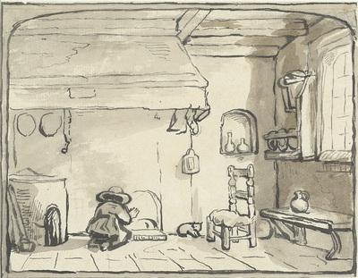 Keukeninterieur met knielend figuurtje bij de schouw