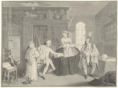 Verbeeld een pokmeester en zijn vrouw in hun winkel (...); Le mariage à la Mode