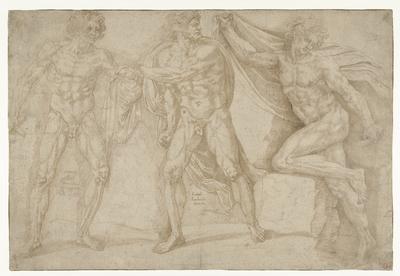 Drie naakte mannen in verschillende houdingen