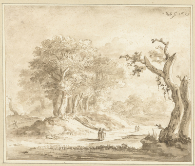Image from object titled Wandelaars in een bos