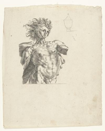 Apollo, ten halven lijve, en schets van een vaas