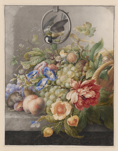 Image from object titled Still Life with Flowers, Fruit, a Great Tit and a Mouse