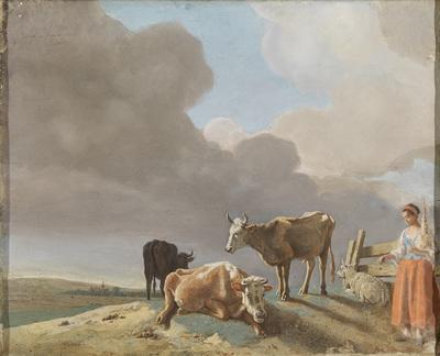 Image from object titled Landschap met koeien, schapen en herderin, gewijzigde kopie naar een schilderij van Paulus Potter, de herderin gekopieerd van een schilderij van Karel Dujardin  (recto); onvoltooid portret van een man (verso)