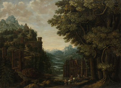 Image from object titled Mountainous Landscape with River Valley and Castles