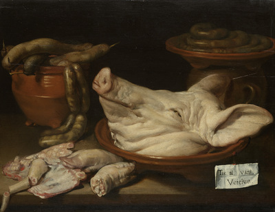 Image from object titled Still Life with Pig's Head, Pig's Knuckles and Sausage