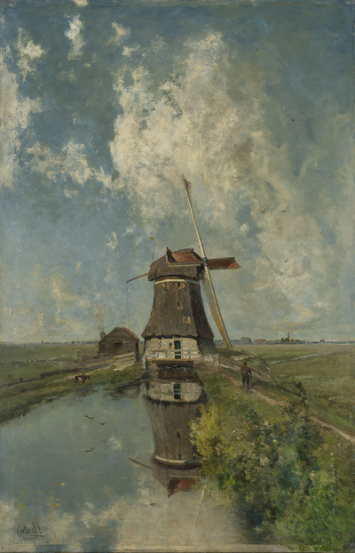 A Windmill on a Polder Waterway, Known as 'In the Month of July' | Gabriël, Paul Joseph Constantin