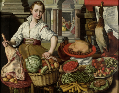 Image from object titled Kitchen Scene, with Jesus in the House of Martha and Mary in the background