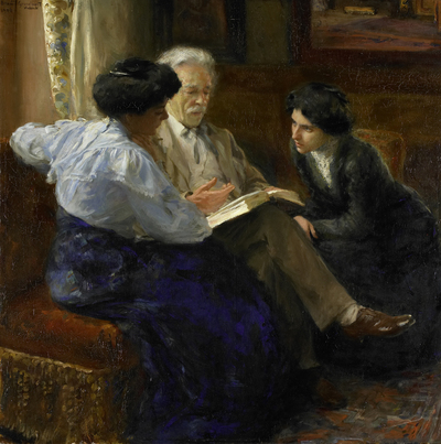 Image from object titled Alphons Marie Antoine Joseph Grandmont (1837-1909), the Artist's second husband, Tutoring two Italian Girls