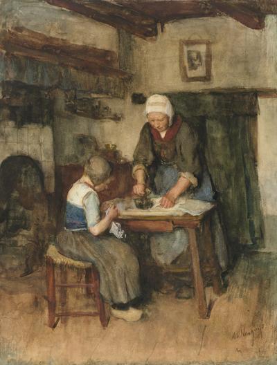 Image from object titled Interieur met strijkende vrouw en naaiend kind