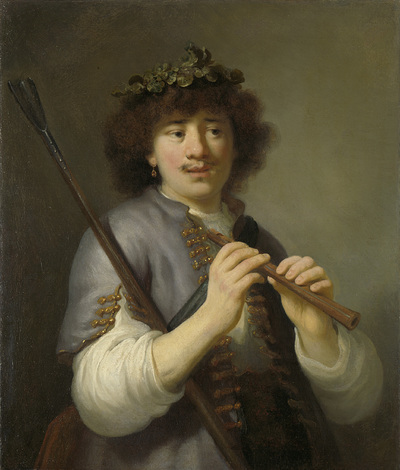 Image from object titled Rembrandt as Shepherd with Staff and Flute