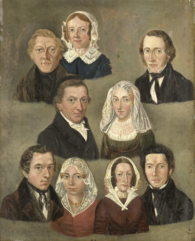 Image from object titled Portrait of the Artist's Parents, Douwe Martens Teenstra and Barber Hindriks Siccama with Members of the Family