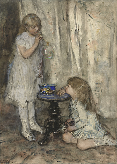 Image from object titled Two Girls Blowing Bubbles