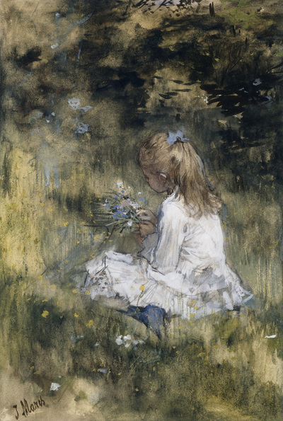 Image from object titled A Girl with Flowers on the Grass