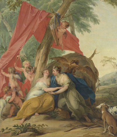 Image from object titled Jupiter, Disguised as Diana, Seducing the Nymph Callisto
