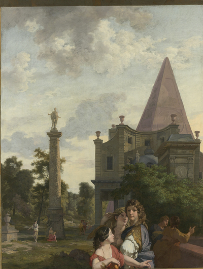 Image from object titled Italian Landscape with three Women in the foreground; Decoration for a Room in the House of Jacob de Flines in Amsterdam