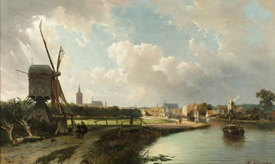Image from object titled View of The Hague from the Delftse Vaart in the Seventeenth Century