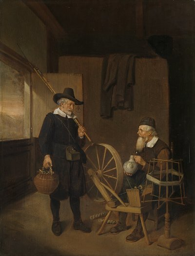 Image from object titled Interior with Fisherman and Man beside a Bobbin and Spool