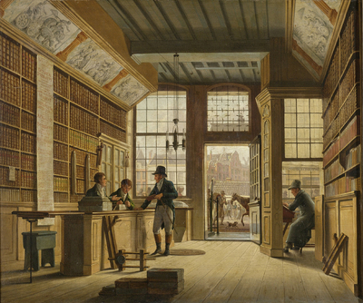 Image from object titled The Shop of the Bookdealer Pieter Meijer Warnars on the Vijgendam in Amsterdam