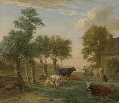 Image from object titled Cows in a Meadow near a Farm