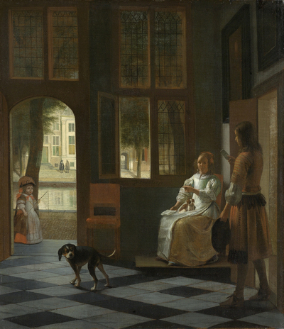 Image from object titled Man Handing a Letter to a Woman in the Entrance Hall of a House