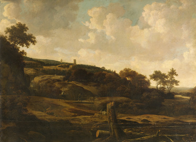 Image from object titled Mountainous Landscape, possibly the St Pietersberg, with Lichtenberg Castle, near Maastricht